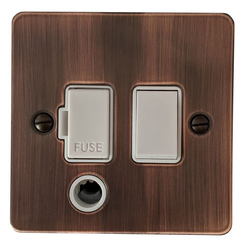 G&H FAC56W Flat Plate Antique Copper 1 Gang Fused Spur 13A Switched & Flex Outlet